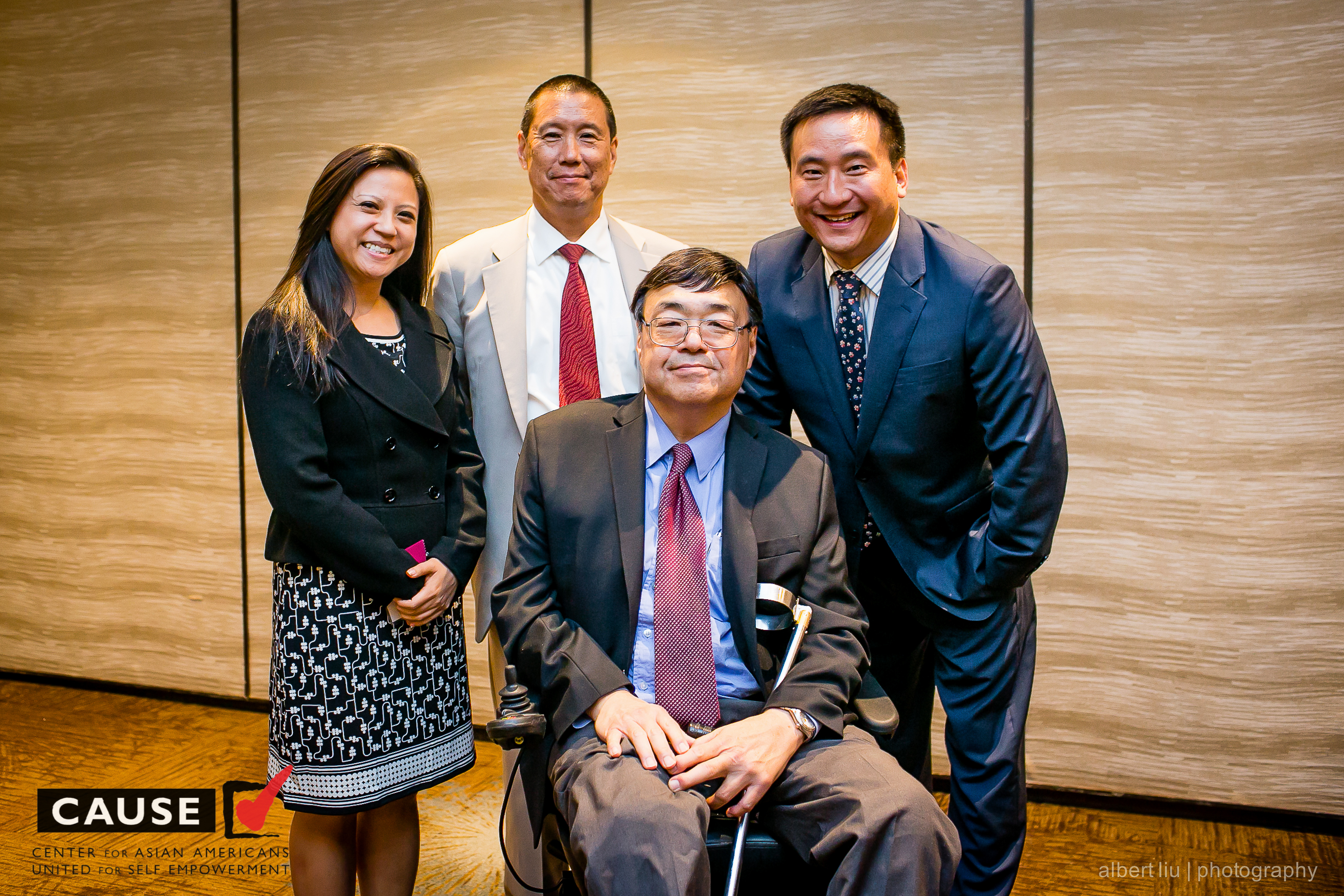 "C-100 members Brian Sun, Charlie Woo, and Frank Wu and C-100 Acting Executive Director Holly Chang attend ""A Conversation with Frank Wu: Asian Americans and the Law"""