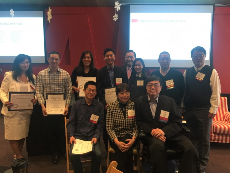 From left to right (back row): LMP mentees Janet Tzou, Kevin Tsai, Leslie Toy, Will Mak, C100 member Stewart Kwoh, Field Representative for the Office of Congressman Ed. Royce, Lauren Pong, C100 members Brian Sun and Edmond H. Pi  (Front row): LMP mentee John Zhou, C100 members Anne Shen Smith and Charlie Woo